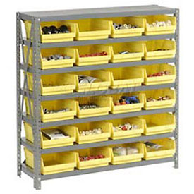 "Steel Shelving with 24 4""H Plastic Shelf Bins Yellow, 36x12x39-7 Shelves"