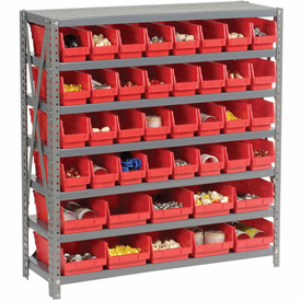 "Steel Shelving with Total 42 4""H Plastic Shelf Bins Red, 36x12x39-7 Shelves"