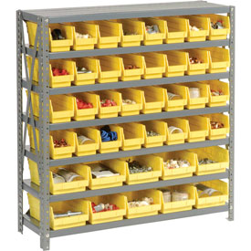 "Steel Shelving with Total 42 4""H Plastic Shelf Bins Yellow, 36x12x39-7 Shelves"