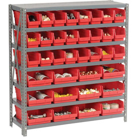 "Steel Shelving with Total 36 4""H Plastic Shelf Bins Red, 36x12x39-7 Shelves"