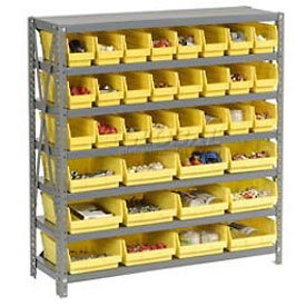 "Steel Shelving with Total 36 4""H Plastic Shelf Bins Yellow, 36x12x39-7 Shelves"