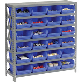 "Steel Shelving with 24 4""H Plastic Shelf Bins Blue, 36x18x39-7 Shelves"