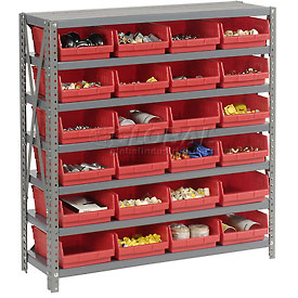 "Steel Shelving with 24 4""H Plastic Shelf Bins Red, 36x18x39-7 Shelves"