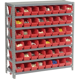 "Steel Shelving with 48 4""H Plastic Shelf Bins Red, 36x18x39-7 Shelves"