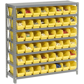 "Steel Shelving with 48 4""H Plastic Shelf Bins Yellow, 36x18x39-7 Shelves"