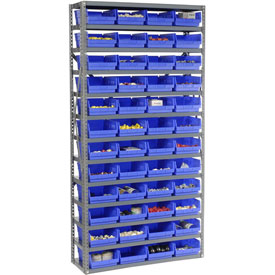 "Steel Shelving with 48 4""H Plastic Shelf Bins Blue, 36x12x72-13 Shelves"