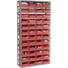 "Steel Shelving with 48 4""H Plastic Shelf Bins Red, 36x12x72-13 Shelves"
