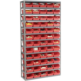 "Steel Shelving with 60 4""H Plastic Shelf Bins Red, 36x12x72-13 Shelves"