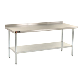 "Aero Manufacturing AS2472 72""W x 24""D 18 Gauge Stainless Steel Workbench W/ Backsplash"