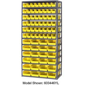 "Steel Shelving with Total 72 4""H Plastic Shelf Bins Yellow, 36x12x72-13 Shelves"
