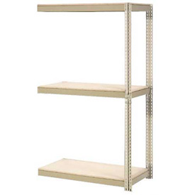 "Expandable Add-On Rack 96""W x 24""D x 84""H Tan With 3 Levels Wood Deck 1100lb Cap Per Level"