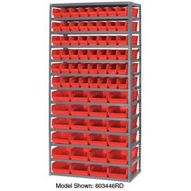 "Steel Shelving with 48 4""H Plastic Shelf Bins Red, 36x18x72-13 Shelves"