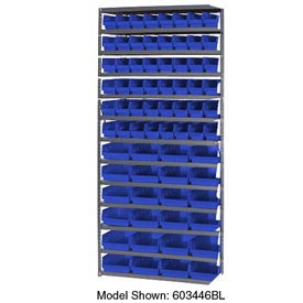 "Steel Shelving with 60 4""H Plastic Shelf Bins Blue, 36x18x72-13 Shelves"