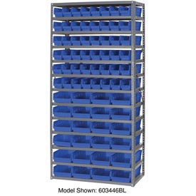 "Steel Shelving with 96 4""H Plastic Shelf Bins Blue, 36x18x72-13 Shelves"