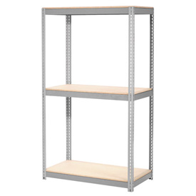 "Expandable Starter Rack 48""W x 12""D x 84""H Gray With 3 Level Wood Deck 1500lb Cap Per Deck"
