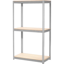 "Expandable Starter Rack 48""W x 24""D x 84""H Gray With 3 Level Wood Deck 1500lb Cap Per Deck"