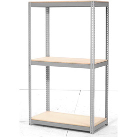 "Expandable Starter Rack 96""W x 48""D x 84""H Gray With 3 Level Wood Deck 1100lb Cap Per Deck"