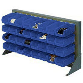"""Louvered Bench Rack 36""""W x 20""""H With 22 of Blue Stacking Akrobins"""