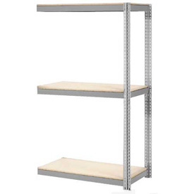 "Expandable Add-On Rack 96""W x 48""D x 84""H Gray With 3 Level Wood Deck 1100lb Cap Per Level"