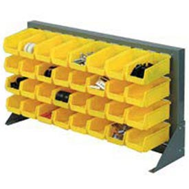 "Louvered Bench Rack 36""W x 20""H With 10 of Yellow Stacking Akrobins"