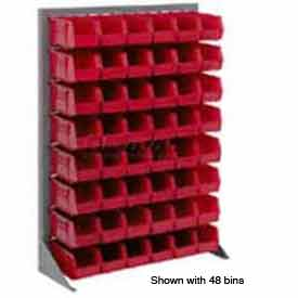 "Singled Sided Louvered Bin Rack 35""W x 15""D x 50""H with 58 of Red Stacking Akrobins"