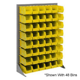 "Singled Sided Louvered Bin Rack 35""W x 15""D x 50""H with 58 of Yellow Stacking Akrobins"