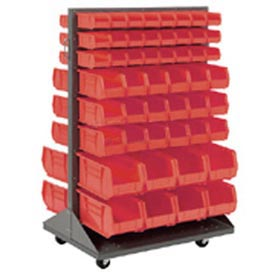 Mobile Double Sided Floor Rack With 64 Red Akrobins 36 x 54