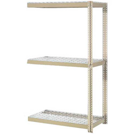 "Expandable Add-On Rack 96""W x 48""D x 84""H Tan With 3 Levels Wire Deck 1100lb Cap Per Level"