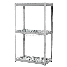 "Expandable Starter Rack 60""W x 36""D x 84""H Gray With 3 Level Wire Deck 1000lb Cap Per Deck"