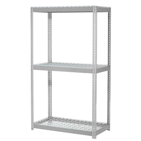 "Expandable Starter Rack 96""W x 36""D x 84""H Gray With 3 Level Wire Deck 800lb Cap Per Deck"
