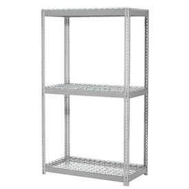 "Expandable Starter Rack 96""W x 48""D x 84""H Gray With 3 Level Wire Deck 1100lb Cap Per Deck"