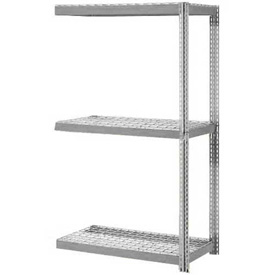 "Expandable Add-On Rack 48""W x 18""D x 84""H Gray With 3 Level Wire Deck 1500lb Cap Per Level"