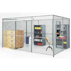 Wire Mesh Partition Security Room 20x10x8 with Roof - 3 Sides w/ Window