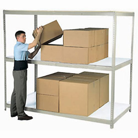 "Wide Span Rack 96""W x 48""D x 60""H Tan With 3 Shelves Laminated Deck 800 Lb Cap Per Level"