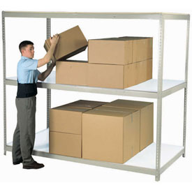 "Wide Span Rack 96""W x 48""D x 60""H Tan With 3 Shelves Laminated Deck 1100 Lb Cap Per Level"