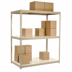 "Wide Span Rack 96""W x 24""D x 84""H Tan With 3 Shelves Laminated Deck 800 Lb Cap Per Level"