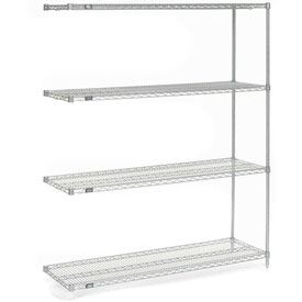 "Nexel Stainless Steel Wire Shelving Add-On 60""W X 18""D X 74""H"