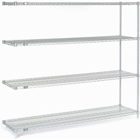 "Nexel Stainless Steel Wire Shelving Add-On 72""W X 18""D X 63""H"
