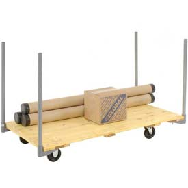 "Stake Handle Hardwood Deck Platform Truck 48 x 24 1000 Lb. Capacity 5"" Polyurethane Casters"
