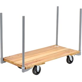 "Stake Handle Hardwood Deck Platform Truck 48 x 24 2000 Lb. Capacity 6"" Rubber Casters"