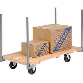 "Stake Handle Hardwood Deck Platform Truck 54 x 27 2000 Lb. Capacity 6"" Rubber Casters"