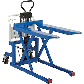 Manual High Lift Skid Truck 2200 Lb. Capacity 27 x 44-1/2 Forks