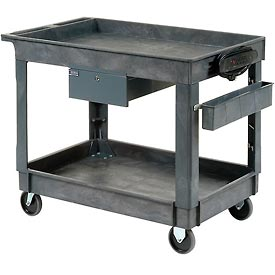 "Plastic Instrument Cart - Power Strip, Locking Drawer & Bin - Tray Top 5"" Wheels - Global Industrial"