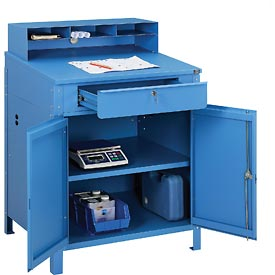 "Shop Desk w Lower Cabinet and Pigeonhole Compartments 34-1/2""W x 30""D x 51-1/2""H"