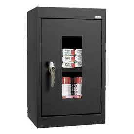 Sandusky Clear View Wall Cabinet WA1V161226 Single Door - 16x12x26, Black