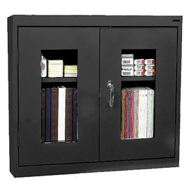 Sandusky Clear View Wall Cabinet WA1V301226 Double Door - 30x12x26, Black