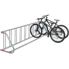 Grid Bike Rack, 9-Bike, Single Sided, Powder Coated Galvanized Steel