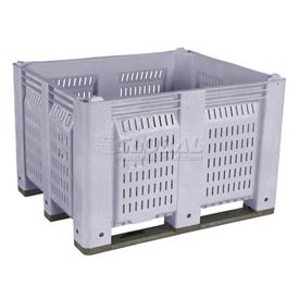 Decade M40PGY2 Pallet Container Vented Wall 48x40x31 Long Side Runners Gray 1500 Lb Capacity