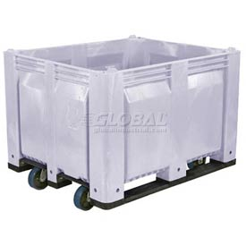 Decade C40SGY1-C1 Pallet Container Solid Wall W/ 6inch Casters 48x40x31 Gray 1500 Pounds Capacity