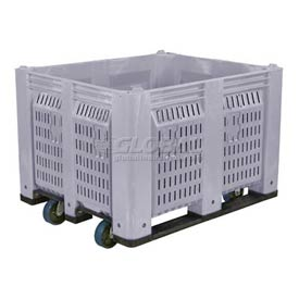 Decade C40PGY1-C1 Pallet Container Vented Wall W/ 6inch Casters 48x40x31 Gray 1500 Pounds Capacity